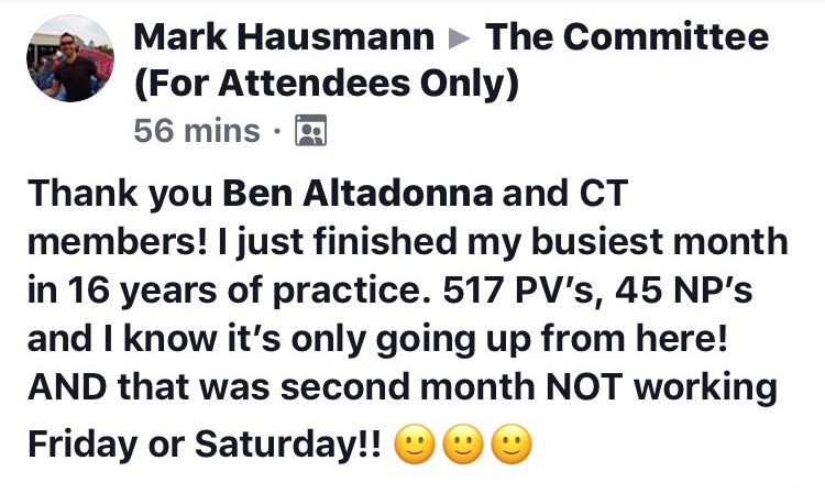 Thank you Ben Altadonna and CT members! I just finished my busiest month in 16 years of practice. 517 PVs, 45 NPs and I know it's only going up from here! AND that was the second month NOT working Friday or Saturday!!